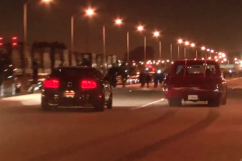 Video: Mustang and Chevy C10 Narrowly Escape Catastrophe